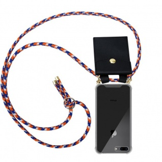 Cadorabo Handy Kette für Apple iPhone 8 PLUS / 7 PLUS / 7S PLUS in ORANGE BLAU WEISS - Silikon Necklace Umhänge Hülle mit Gold Ringen, Kordel Band Schnur und abnehmbarem Etui ? Schutzhülle