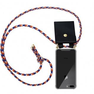Cadorabo Handy Kette für Apple iPhone 8 PLUS / 7 PLUS / 7S PLUS in ORANGE BLAU WEISS Silikon Necklace Umhänge Hülle mit Gold Ringen, Kordel Band Schnur und abnehmbarem Etui Schutzhülle