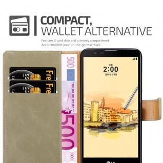 Cadorabo Hülle für LG STYLUS 2 in CAPPUCCINO BRAUN - Handyhülle mit Magnetverschluss, Standfunktion und Kartenfach - Case Cover Schutzhülle Etui Tasche Book Klapp Style - Vorschau 5