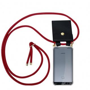Cadorabo Handy Kette für Huawei P9 in RUBIN ROT - Silikon Necklace Umhänge Hülle mit Gold Ringen, Kordel Band Schnur und abnehmbarem Etui ? Schutzhülle