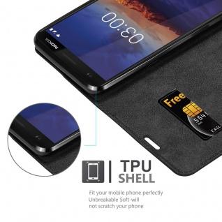 Cadorabo Hülle für Nokia 3.1 2018 in NACHT SCHWARZ - Handyhülle mit Magnetverschluss, Standfunktion und Kartenfach - Case Cover Schutzhülle Etui Tasche Book Klapp Style - Vorschau 4