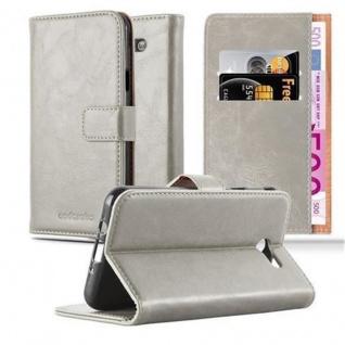 Cadorabo Hülle für Samsung Galaxy J3 2017 US Version in CAPPUCCINO BRAUN ? Handyhülle mit Magnetverschluss, Standfunktion und Kartenfach ? Case Cover Schutzhülle Etui Tasche Book Klapp Style