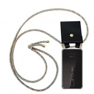 Cadorabo Handy Kette für Nokia 4.2 in RAINBOW - Silikon Necklace Umhänge Hülle mit Gold Ringen, Kordel Band Schnur und abnehmbarem Etui ? Schutzhülle