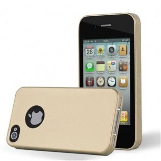 Cadorabo Hülle für Apple iPhone 4 / iPhone 4S in METALLIC GOLD - Handyhülle aus flexiblem TPU Silikon - Silikonhülle Schutzhülle Ultra Slim Soft Back Cover Case Bumper
