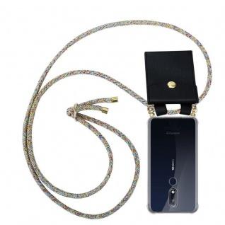 Cadorabo Handy Kette für Nokia 7.1 2018 in RAINBOW Silikon Necklace Umhänge Hülle mit Gold Ringen, Kordel Band Schnur und abnehmbarem Etui Schutzhülle