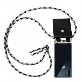 Cadorabo Handy Kette für Apple iPhone XS MAX in SCHWARZ CAMOUFLAGE - Silikon Necklace Umhänge Hülle mit Silber Ringen, Kordel Band Schnur und abnehmbarem Etui - Schutzhülle