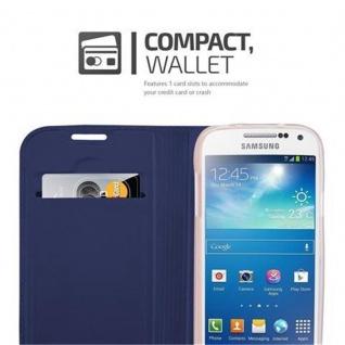 Cadorabo Hülle für Samsung Galaxy S4 MINI in CLASSY DUNKEL BLAU - Handyhülle mit Magnetverschluss, Standfunktion und Kartenfach - Case Cover Schutzhülle Etui Tasche Book Klapp Style - Vorschau 3