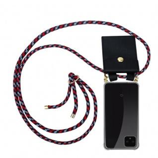 Cadorabo Handy Kette für Google Pixel 4 in ROT BLAU WEISS Silikon Necklace Umhänge Hülle mit Gold Ringen, Kordel Band Schnur und abnehmbarem Etui Schutzhülle