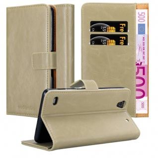 Cadorabo Hülle für Sony Xperia C4 in CAPPUCCINO BRAUN ? Handyhülle mit Magnetverschluss, Standfunktion und Kartenfach ? Case Cover Schutzhülle Etui Tasche Book Klapp Style