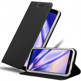 Cadorabo Hülle für Huawei P SMART 2018 / Enjoy 7S in CLASSY SCHWARZ Handyhülle mit Magnetverschluss, Standfunktion und Kartenfach Case Cover Schutzhülle Etui Tasche Book Klapp Style