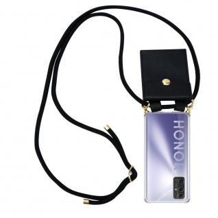 Cadorabo Handy Kette für Honor 30 in SCHWARZ Silikon Necklace Umhänge Hülle mit Gold Ringen, Kordel Band Schnur und abnehmbarem Etui Schutzhülle
