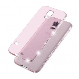 Cadorabo Hülle für Samsung Galaxy S5 / S5 NEO - Hülle in TRANSPARENT ROSA ? Handyhülle aus TPU Silikon im Strass Design - Silikonhülle Schutzhülle Ultra Slim Soft Back Cover Case Bumper - Vorschau 4