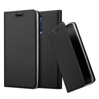 Cadorabo Hülle für Nokia 8 2017 in CLASSY SCHWARZ - Handyhülle mit Magnetverschluss, Standfunktion und Kartenfach - Case Cover Schutzhülle Etui Tasche Book Klapp Style