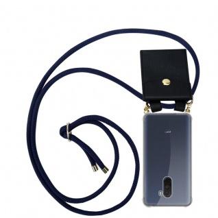 Cadorabo Handy Kette für Xiaomi Pocophone F1 in TIEF BLAU - Silikon Necklace Umhänge Hülle mit Gold Ringen, Kordel Band Schnur und abnehmbarem Etui ? Schutzhülle