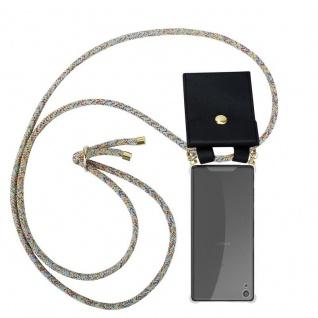 Cadorabo Handy Kette für Sony Xperia XA in RAINBOW - Silikon Necklace Umhänge Hülle mit Gold Ringen, Kordel Band Schnur und abnehmbarem Etui ? Schutzhülle