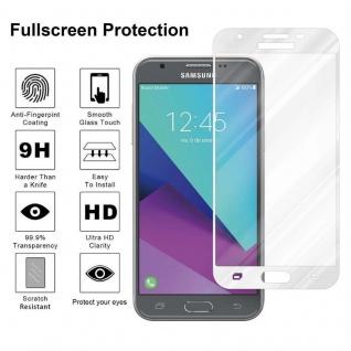 Cadorabo Vollbild Panzer Folie für Samsung Galaxy J3 2017 - Schutzfolie in TRANSPARENT mit WEISS - Gehärtetes (Tempered) Display-Schutzglas in 9H Härte mit 3D Touch Kompatibilität - Vorschau 4