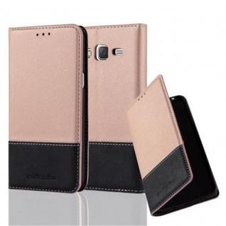 Cadorabo Hülle für Samsung Galaxy J5 2015 in ROSÉ GOLD SCHWARZ - Handyhülle mit Magnetverschluss, Standfunktion und Kartenfach - Case Cover Schutzhülle Etui Tasche Book Klapp Style