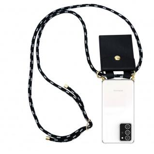 Cadorabo Handy Kette für Samsung Galaxy NOTE 20 PLUS in SCHWARZ SILBER Silikon Necklace Umhänge Hülle mit Gold Ringen, Kordel Band Schnur und abnehmbarem Etui Schutzhülle