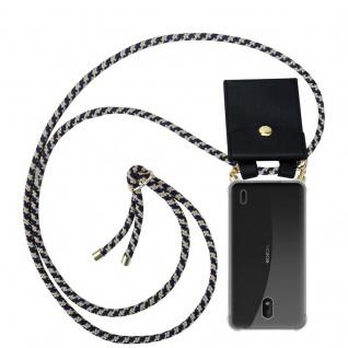 Cadorabo Handy Kette für Nokia 1 PLUS in DUNKELBLAU GELB - Silikon Necklace Umhänge Hülle mit Gold Ringen, Kordel Band Schnur und abnehmbarem Etui ? Schutzhülle