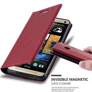 Cadorabo Hülle für HTC One M7 in APFEL ROT - Handyhülle mit Magnetverschluss, Standfunktion und Kartenfach - Case Cover Schutzhülle Etui Tasche Book Klapp Style