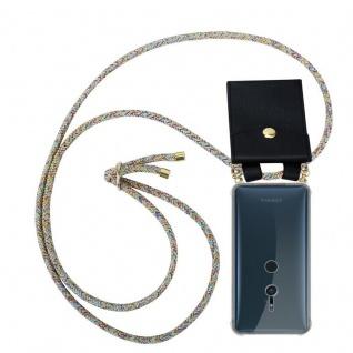 Cadorabo Handy Kette für Sony Xperia XZ2 in RAINBOW - Silikon Necklace Umhänge Hülle mit Gold Ringen, Kordel Band Schnur und abnehmbarem Etui ? Schutzhülle