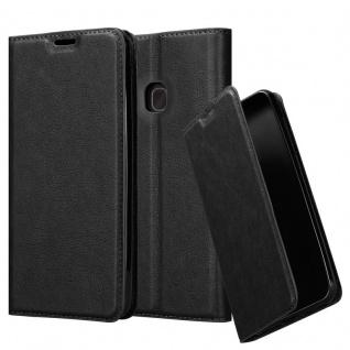 Cadorabo Hülle für Samsung Galaxy A40 in NACHT SCHWARZ Handyhülle mit Magnetverschluss, Standfunktion und Kartenfach Case Cover Schutzhülle Etui Tasche Book Klapp Style