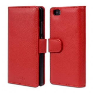 Cadorabo Hülle für Huawei P8 LITE 2015 in INFERNO ROT ? Handyhülle mit Magnetverschluss und 3 Kartenfächern ? Case Cover Schutzhülle Etui Tasche Book Klapp Style