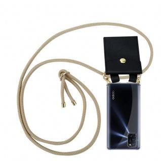 Cadorabo Handy Kette für Oppo A72 in GLÄNZEND BRAUN Silikon Necklace Umhänge Hülle mit Gold Ringen, Kordel Band Schnur und abnehmbarem Etui Schutzhülle