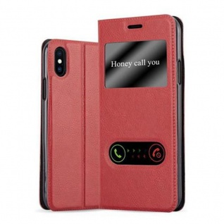 Cadorabo Hülle für Apple iPhone X / XS in SAFRAN ROT - Handyhülle mit Magnetverschluss, Standfunktion und 2 Sichtfenstern - Case Cover Schutzhülle Etui Tasche Book Klapp Style