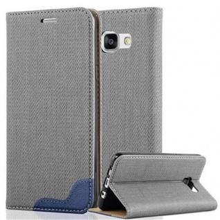 Cadorabo Hülle für Samsung Galaxy A5 2016 - Hülle in GRAU BLAU ? Handyhülle in Bast-Optik mit Kartenfach und Standfunktion - Case Cover Schutzhülle Etui Tasche Book Klapp Style