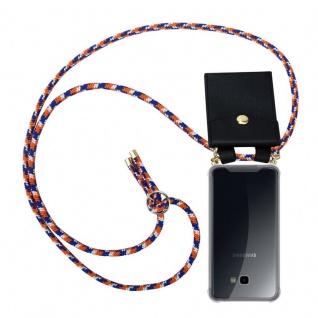 Cadorabo Handy Kette für Samsung Galaxy J4 PLUS in ORANGE BLAU WEISS - Silikon Necklace Umhänge Hülle mit Gold Ringen, Kordel Band Schnur und abnehmbarem Etui ? Schutzhülle
