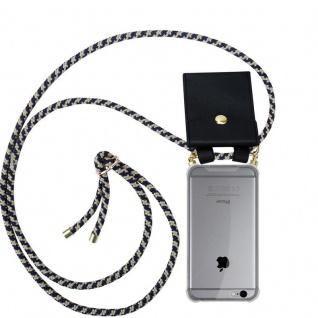 Cadorabo Handy Kette für Apple iPhone 6 / iPhone 6S in DUNKELBLAU GELB - Silikon Necklace Umhänge Hülle mit Gold Ringen, Kordel Band Schnur und abnehmbarem Etui ? Schutzhülle