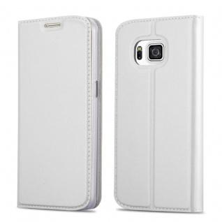 Cadorabo Hülle für Samsung Galaxy ALPHA in CLASSY SILBER Handyhülle mit Magnetverschluss, Standfunktion und Kartenfach Case Cover Schutzhülle Etui Tasche Book Klapp Style