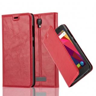 Cadorabo Hülle für ZTE BLADE L5 in APFEL ROT Handyhülle mit Magnetverschluss, Standfunktion und Kartenfach Case Cover Schutzhülle Etui Tasche Book Klapp Style