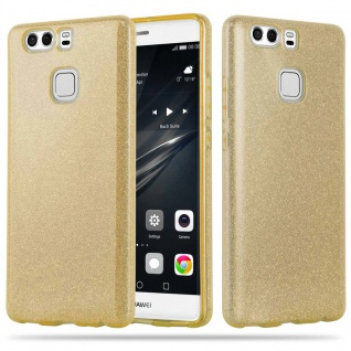 Cadorabo Hülle für Huawei P9 PLUS - Hülle in STERNENSTAUB GOLD ? TPU Silikon und Hardcase Handyhülle im Glitzer Design - Hard Case TPU Silikon Schutzhülle