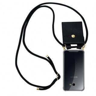 Cadorabo Handy Kette für Samsung Galaxy J4 PLUS in SCHWARZ Silikon Necklace Umhänge Hülle mit Gold Ringen, Kordel Band Schnur und abnehmbarem Etui Schutzhülle