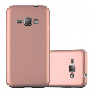 Cadorabo Hülle für Samsung Galaxy J1 2016 in METALL ROSE GOLD - Hardcase Handyhülle aus Plastik gegen Kratzer und Stöße - Schutzhülle Bumper Ultra Slim Back Case Hard Cover