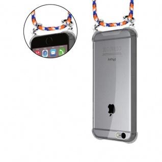 Cadorabo Handy Kette für Apple iPhone 6 PLUS / iPhone 6S PLUS in ORANGE BLAU WEISS - Silikon Necklace Umhänge Hülle mit Silber Ringen, Kordel Band Schnur und abnehmbarem Etui - Schutzhülle - Vorschau 5