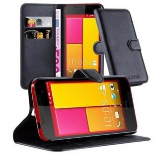 Cadorabo Hülle für HTC BUTTERFLY 2 in PHANTOM SCHWARZ - Handyhülle mit Magnetverschluss, Standfunktion und Kartenfach - Case Cover Schutzhülle Etui Tasche Book Klapp Style