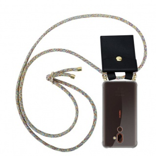 Cadorabo Handy Kette für Nokia 7 PLUS in RAINBOW - Silikon Necklace Umhänge Hülle mit Gold Ringen, Kordel Band Schnur und abnehmbarem Etui ? Schutzhülle