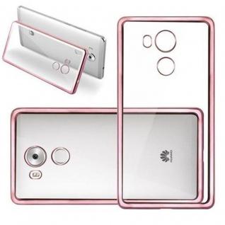 Cadorabo Hülle für Huawei MATE 8 - Hülle in TRANSPARENT mit CHROM ROSEGOLD - Handyhülle aus TPU Silikon im Chrom Design - Silikonhülle Schutzhülle Ultra Slim Soft Back Cover Case Bumper