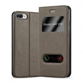 Cadorabo Hülle für Apple iPhone 8 PLUS / iPhone 7 PLUS / iPhone 7S PLUS in STEIN BRAUN - Handyhülle mit Magnetverschluss, Standfunktion und 2 Sichtfenstern - Case Cover Schutzhülle Etui Tasche Book Klapp Style