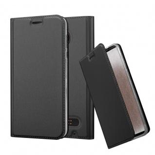 Cadorabo Hülle für Motorola MOTO Z2 in CLASSY SCHWARZ - Handyhülle mit Magnetverschluss, Standfunktion und Kartenfach - Case Cover Schutzhülle Etui Tasche Book Klapp Style