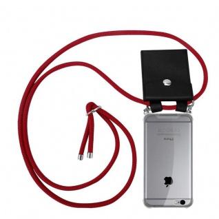 Cadorabo Handy Kette für Apple iPhone 6 PLUS / iPhone 6S PLUS in RUBIN ROT - Silikon Necklace Umhänge Hülle mit Silber Ringen, Kordel Band Schnur und abnehmbarem Etui - Schutzhülle