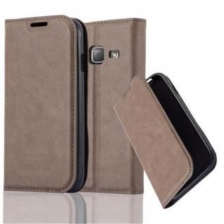 Cadorabo Hülle für Samsung Galaxy J1 MINI 2016 in KAFFEE BRAUN - Handyhülle mit Magnetverschluss, Standfunktion und Kartenfach - Case Cover Schutzhülle Etui Tasche Book Klapp Style