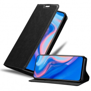 Cadorabo Hülle für Huawei P SMART Z in NACHT SCHWARZ Handyhülle mit Magnetverschluss, Standfunktion und Kartenfach Case Cover Schutzhülle Etui Tasche Book Klapp Style