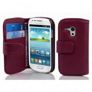 Cadorabo Hülle für Samsung Galaxy S3 MINI - Hülle in BORDEAUX LILA ? Handyhülle mit Kartenfach aus struktriertem Kunstleder - Case Cover Schutzhülle Etui Tasche Book Klapp Style