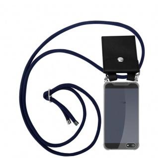 Cadorabo Handy Kette für Apple iPhone 5 / 5S / SE in TIEF BLAU Silikon Necklace Umhänge Hülle mit Silber Ringen, Kordel Band Schnur und abnehmbarem Etui Schutzhülle