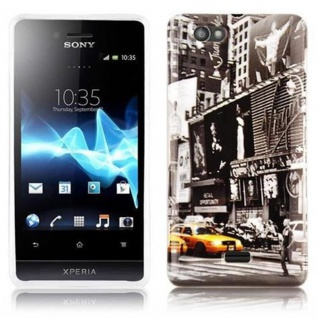 Cadorabo - Hard Cover für Sony Xperia M - Case Cover Schutzhülle Bumper im Design: NEW YORK CAB