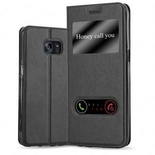 Cadorabo Hülle für Samsung Galaxy S7 EDGE in KOMETEN SCHWARZ - Handyhülle mit Magnetverschluss, Standfunktion und 2 Sichtfenstern - Case Cover Schutzhülle Etui Tasche Book Klapp Style
